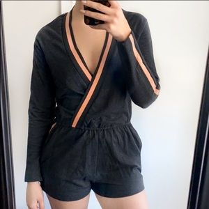 Hot & Delicious Striped Arm Long Sleeve Romper